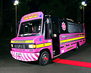 22 Seater Pink Fire Engine Party Bus Hire Northern Ireland